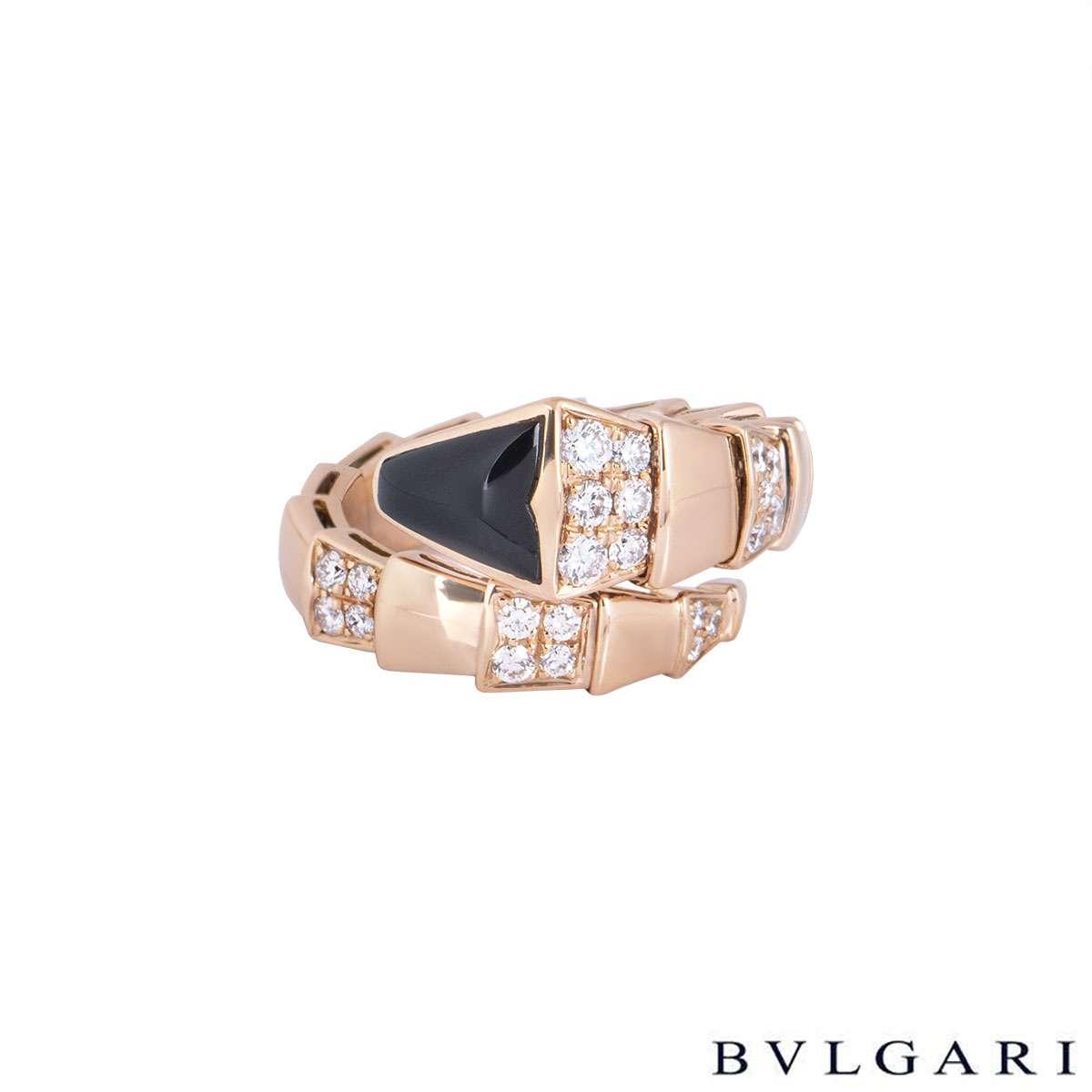 Bvlgari Rose Gold Diamond and Onyx Serpenti Ring